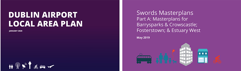 Two boxes in purple - and text - Dublin Airport LAP and Swords Masterplan